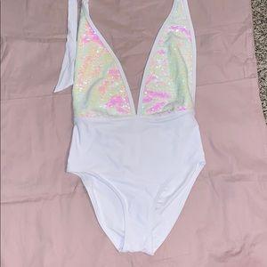 Sequin one piece swimsuit, size s/m